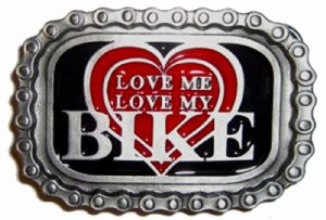Love Me Love My Bike Belt Buckle with display stand